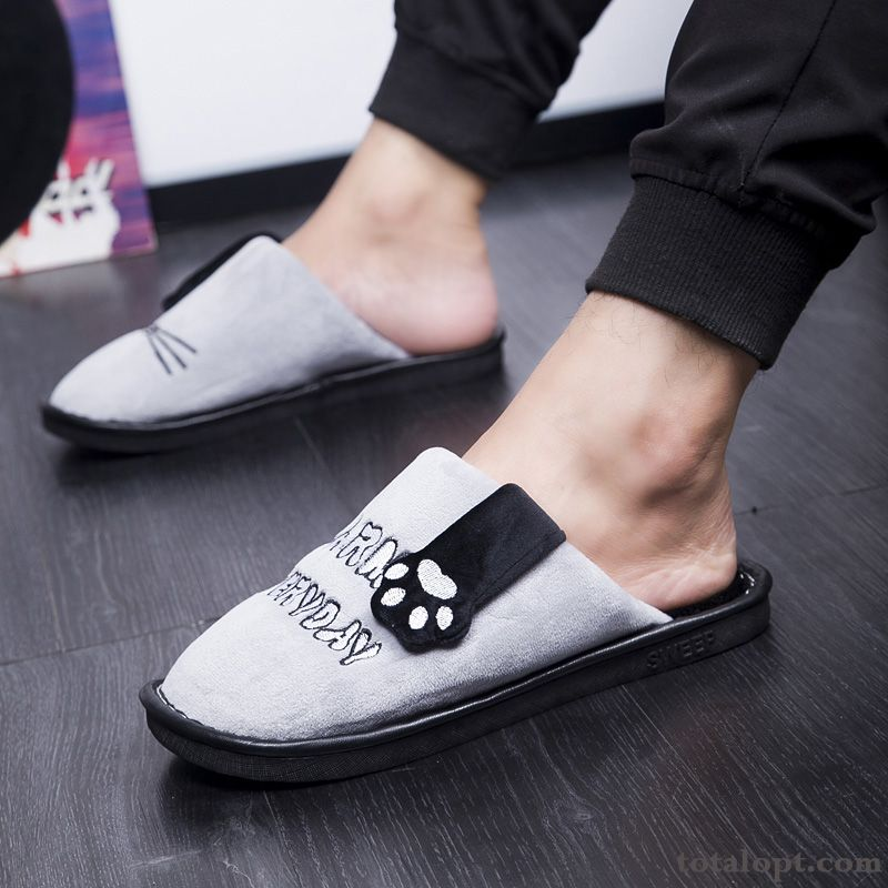 Winter New Gray Thermal Slippers Home Indoor Lovers Lovely Anti-skid Mauve Snow-white