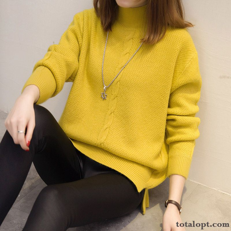 Winter Pullovers Europe Sweater Thickening Knitwear Sweater Flower New Loose Women's Short Powderblue Reddle