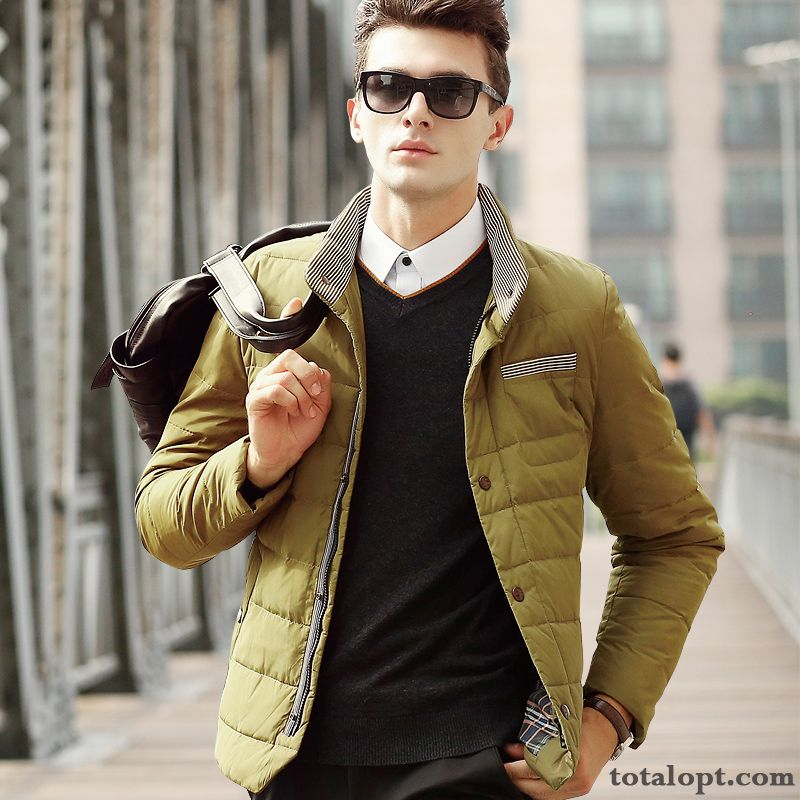 Winter Short White Coat Warm Thickening Slim Trend Youth Student Duck Down Men's Down Jacket Europe Dark Green Carbon Black