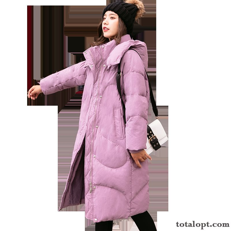 Winter Straight Fur Collar Pocket Zipper Thickening Red Long Sleeves Splicing Hooded Pure Down Jacket Purple Saddlebrown