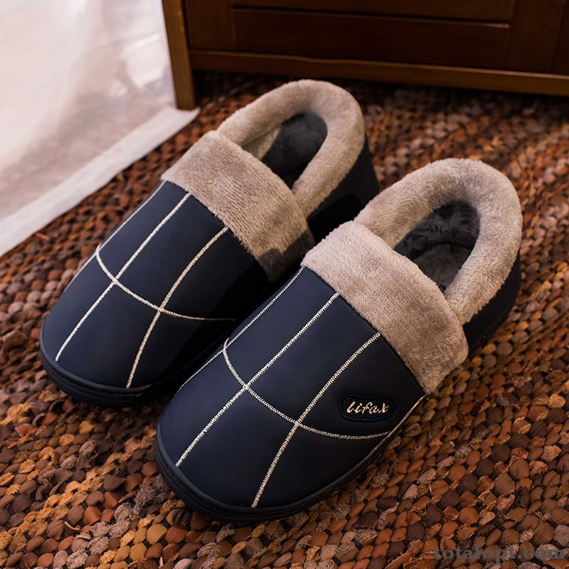 Winter Thick Sole Plus Velvet Men's Deep Blue Lovers Waterproof Indoor Leather Anti-skid Slippers Beige Rose Violet For Sale