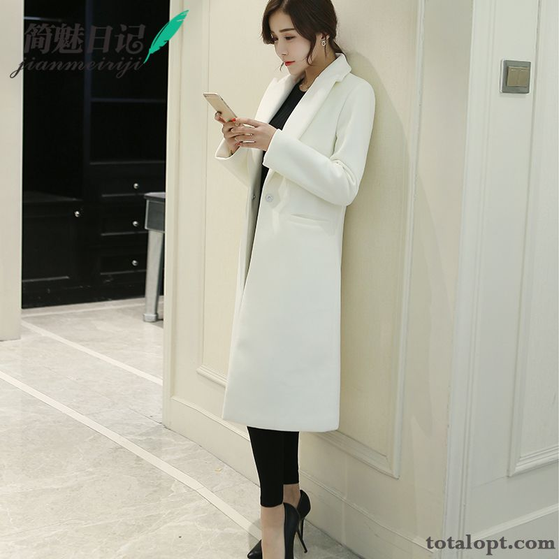 Winter Woolen Women's Coat Slim Thickening Overcoat Europe White New Autumn Long Section Lavender Ivory For Sale