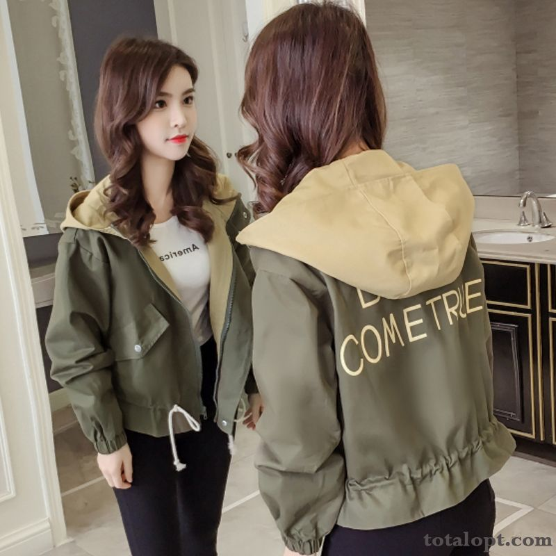 Women's All-match New Jacket Europe Loose Spring Short Autumn Cardigan Student Coat Military Green Rosybrown Sky Blue