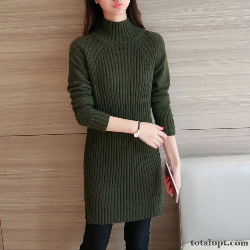 Women's Bottoming Shirt Autumn Knitting Warm Trend Winter New Thickening Sweater Long Section Loose Bisque Seagreen