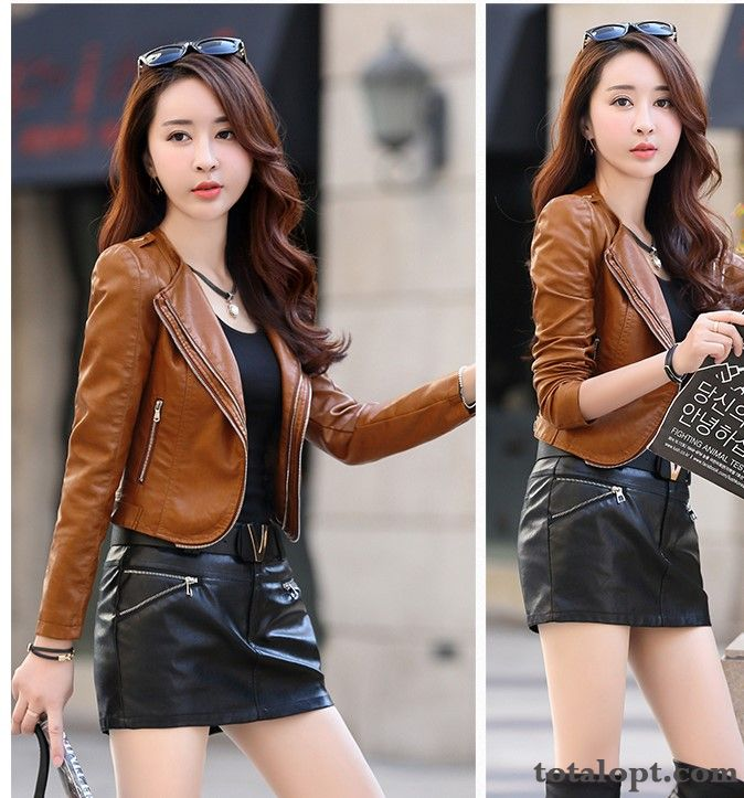 Women's Coat Jacket Small Style Europe Shorts Leather Cardigan Ultra All-match Autumn Long Sleeves Slim Zipper Maize Iris For Sale