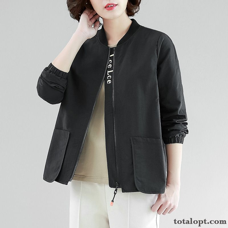 Women's Coat Jacket Spring Autumn Leisure Thin All-match New Short Black Green Rainbow