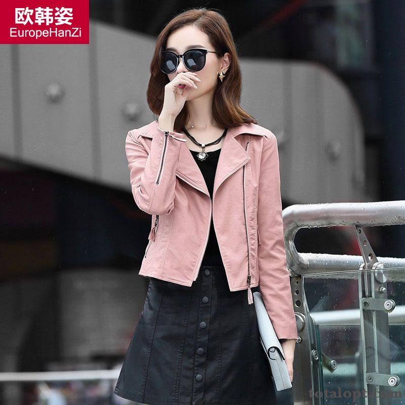 Women's Coat Slim Washing Autumn Leather Thin Winter Jacket Suit Shorts New Ultramarine Oyster White