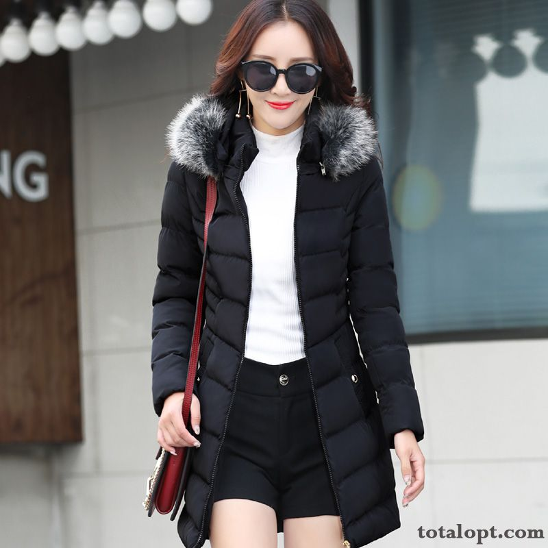 Women's Fat Large Size Winter Clothes New Long Section Cotton Coat Pearl White Rainbow Discount