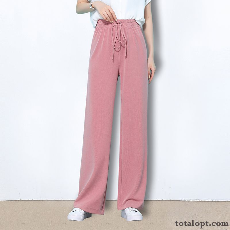 Women's High Waist Pants Straight Suit Black Leisure Pink Summer Thin Loose Grape Raw White