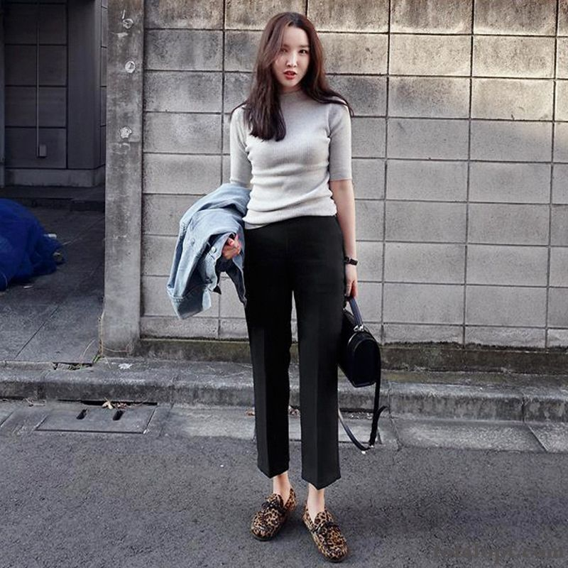 Women's High Waist Woolen Pants Straight Leisure New Autumn Europe Winter Suit Ninth Pants Silver Tomato