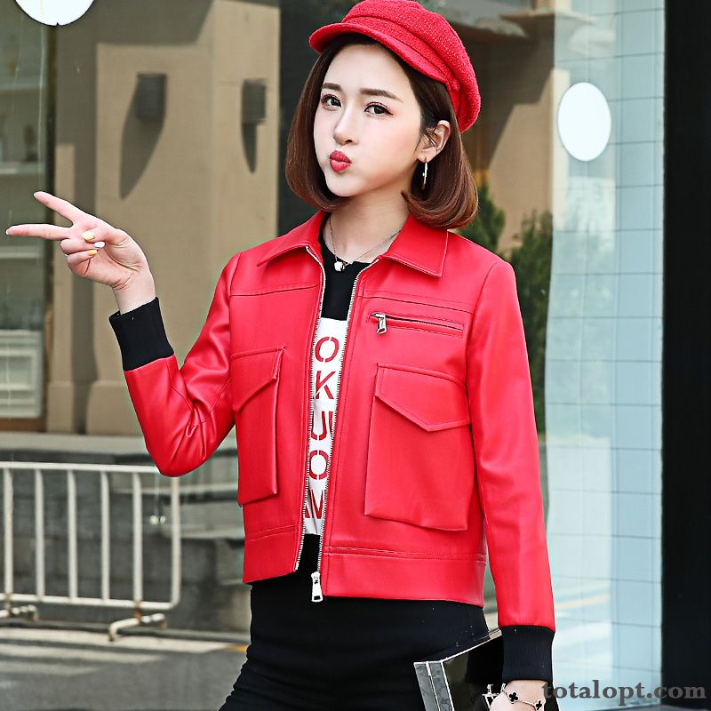Women's Jacket Autumn Red Slim Thin Spring Leather Europe Short Trend Coat New Yellow Rose Violet