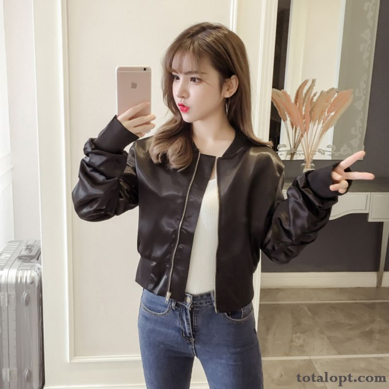 Women's Jacket Coat Trend Autumn New Short Black High Waist Europe Long Sleeves Slim Maize Darkviolet Online