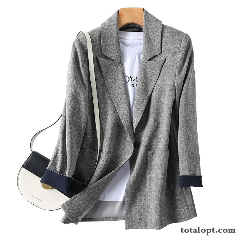 Women's Leisure Coat England Spring Loose Europe New Light Gray Red Suit Misty Gray Rainbow