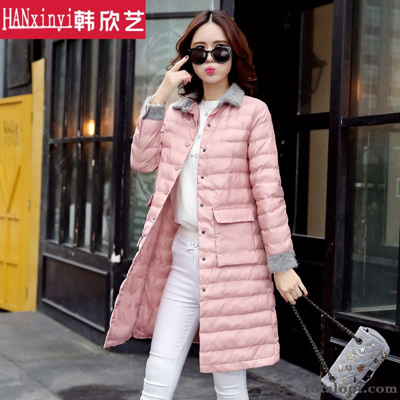 Women's Light Coat Europe Winter Clothes White Large Size Duck Down Long Section Down Jacket Slim Skinny New Snowy White Breen