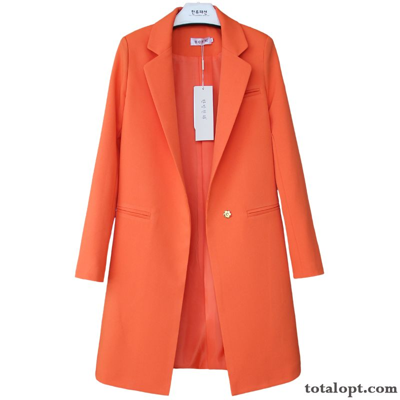Women's Long Sleeves New Long Section Europe Coat All-match Red Spring Thin Large Size Suit Pure White Palegreen