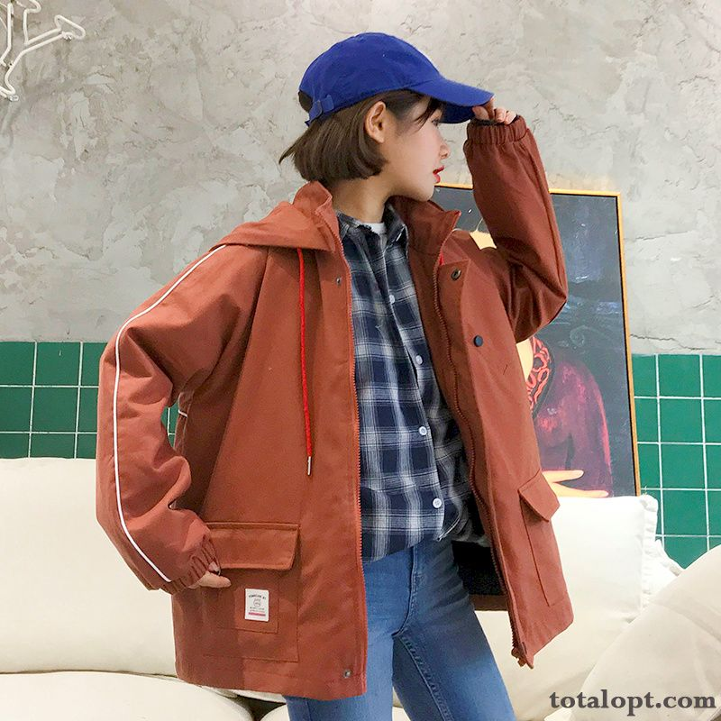 Women's Loose All-match Tooling Spring Trend New Europe Autumn Student Coat Jacket Rubine Yellow