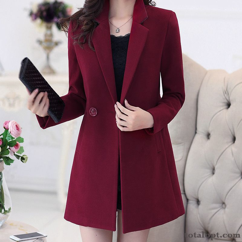 Women's Overcoat Winter Clothes Thickening New Slim Woolen Long Section Europe Large Size Blue Gray Discount