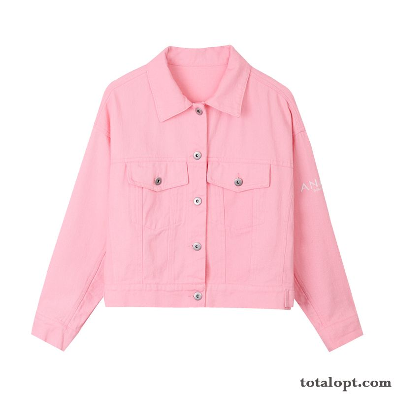 Women's Pink New Coat Autumn Spring Europe Short Trend Loose Jacket Peachpuff Lake For Sale