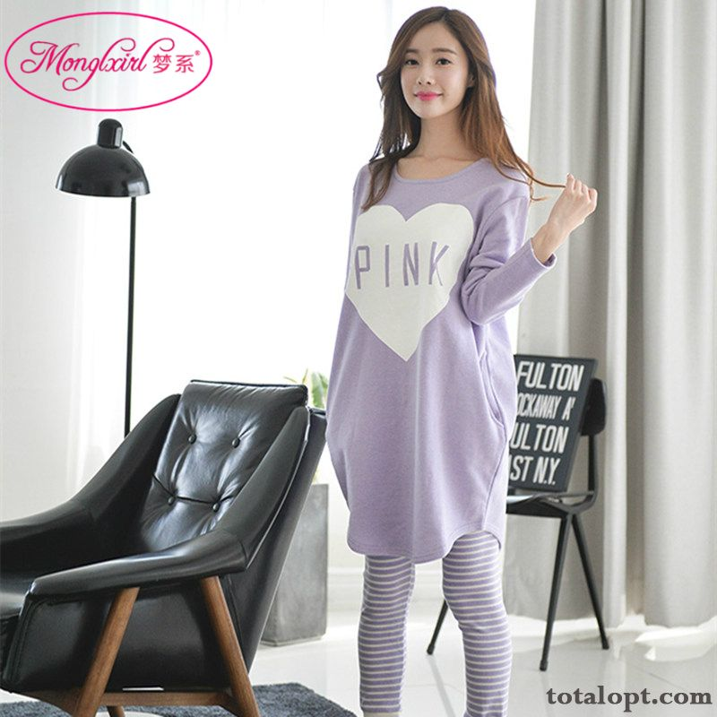 Women's Pure Long Sleeves Europe Autumn Spring Pajamas Loose Robes Lady Trousers Cotton Raw White Gold Online