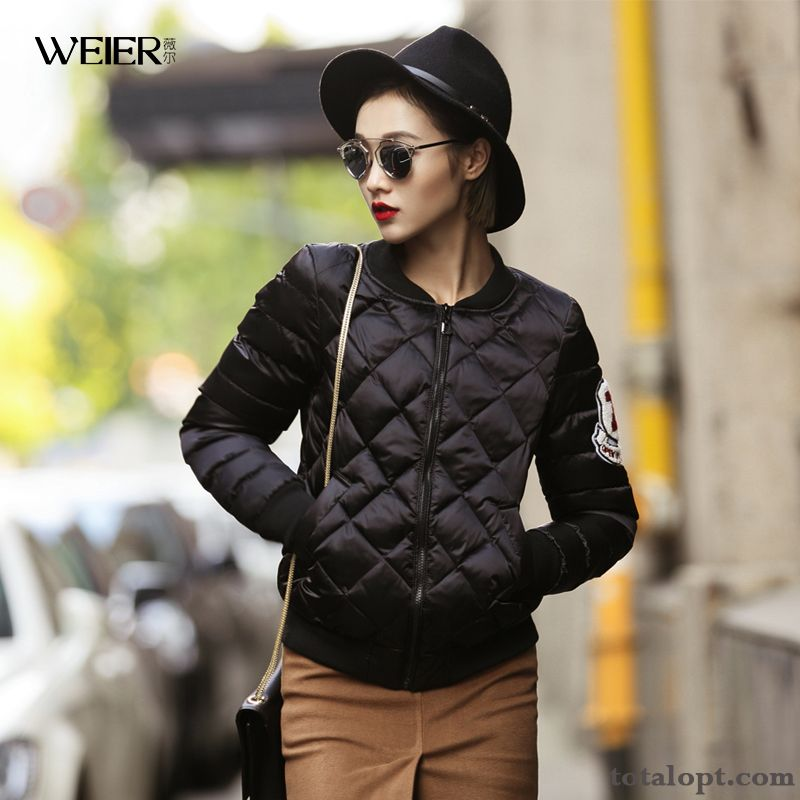 Women's Short Jacket New Coat Cotton-padded Trend Winter Autumn Gold Pure White