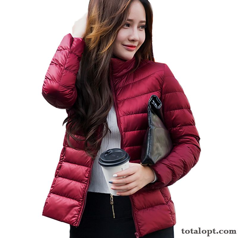 Women's Special Offer Stand Collar Down Jacket Short Winter Clothes Light Large Size Lady Coat Slim New Yellow Garnet