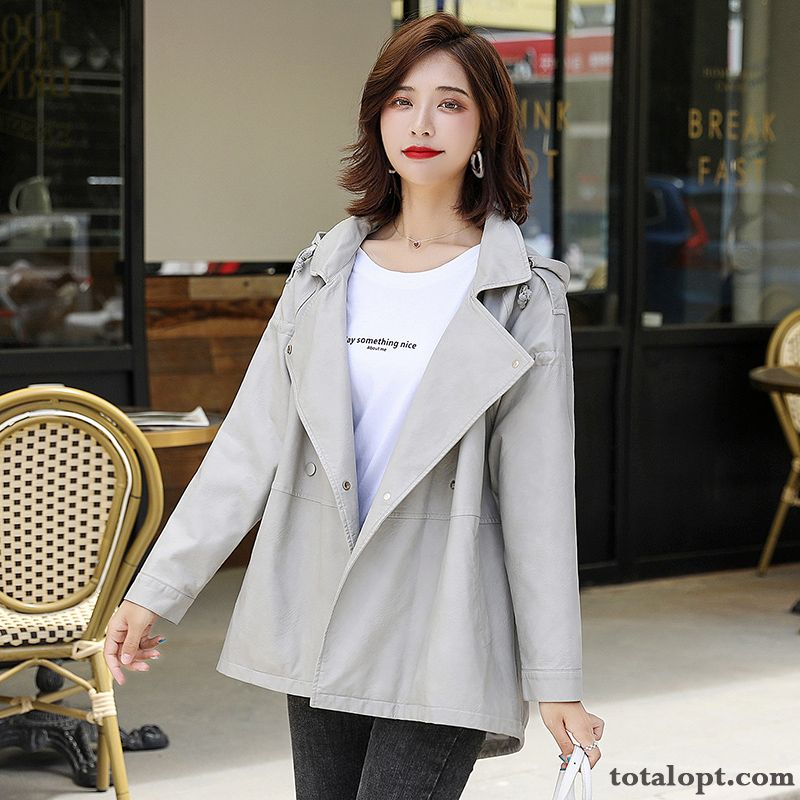 Women's Spring Large Size Europe Long Section Thin Gray Leather Coat Loose New Trend Blue Vermeil Sale