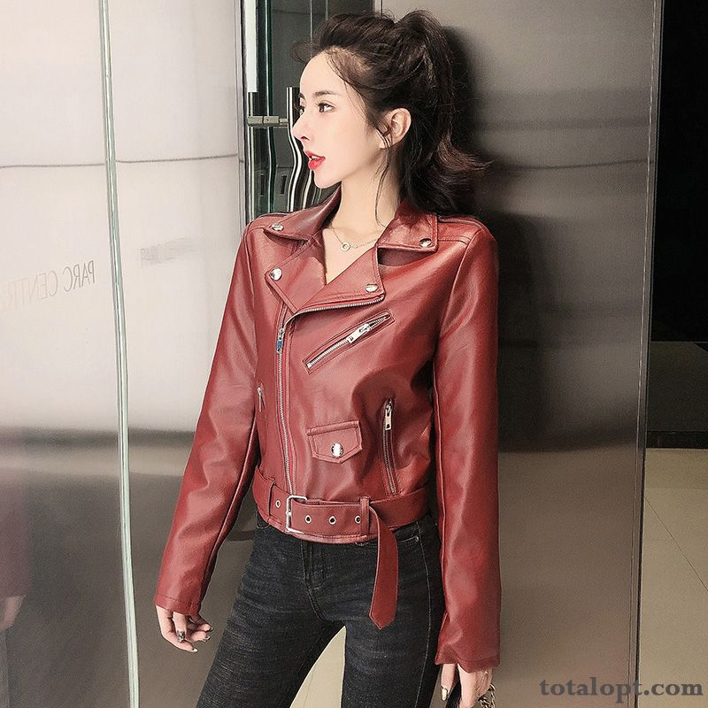 Women's Spring Slim All-match Leather Red Short Pu Jacket Coat Autumn New Lawngreen Oyster White