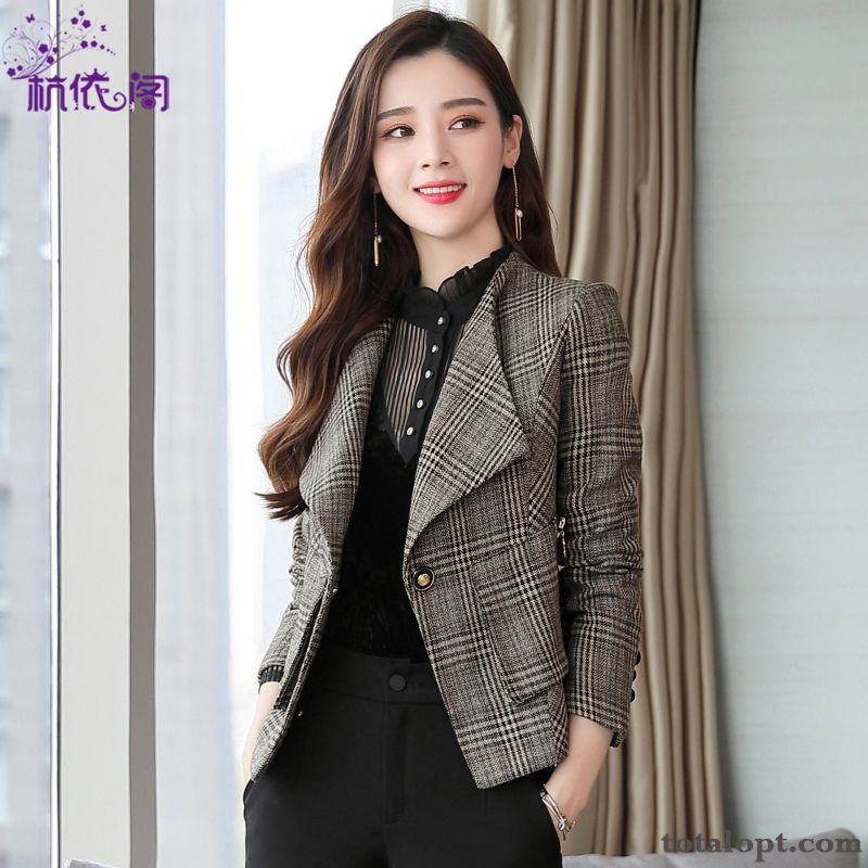 Women's Suit All-match Checks Trend Shorts New Autumn Spring Fashion Coat Blue Gray Discount