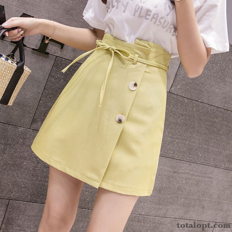 Women's Thin Short Skirts Europe Summer New Darkviolet Earth Yellow
