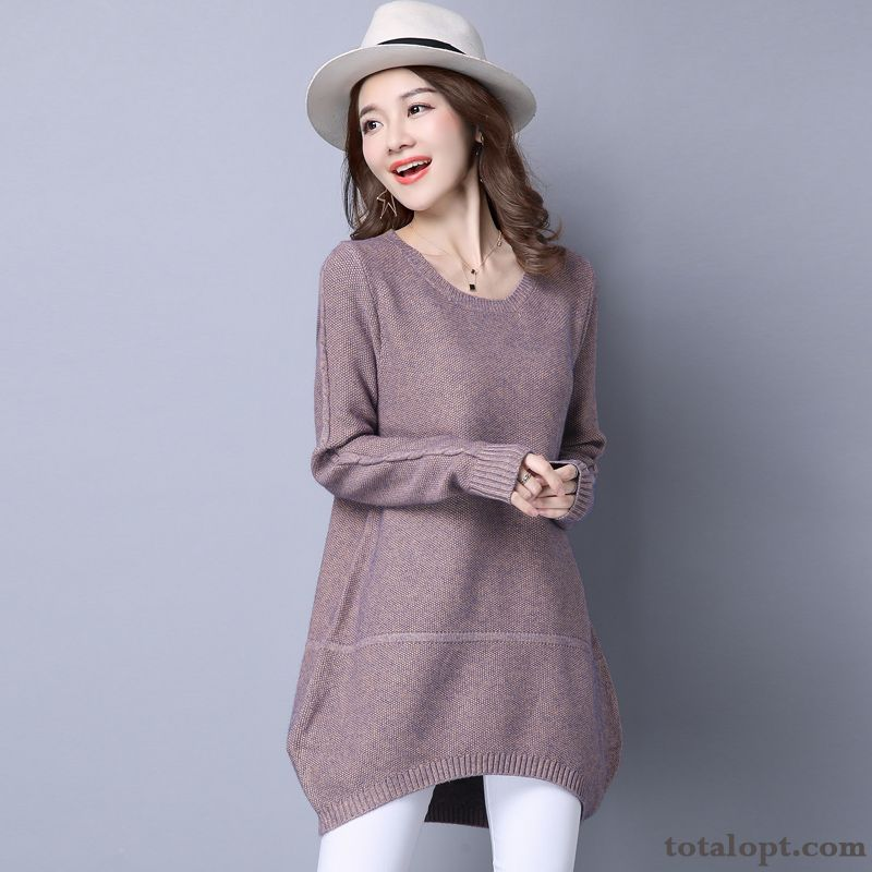 Women's Trend Loose Europe Autumn Knitting New Winter Sweater Pullovers Long Section Bottoming Shirt Silver White Rainbow Discount