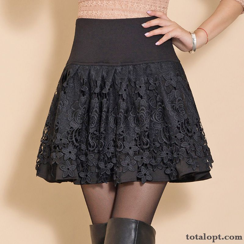 Women's Winter Thin Black Lace Short Skirts High Waist Spring Autumn Snow-white Dull Black Sale