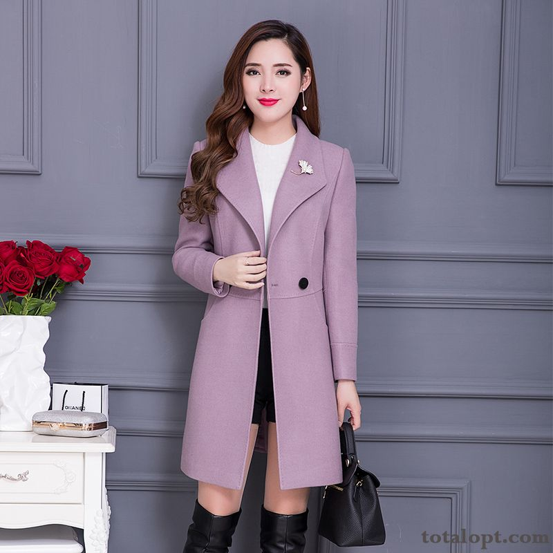Women's Woolen Autumn Long Section Trend New Slim Temperament Coat Overcoat Winter Clothes Darkgreen Darkkhaki For Sale