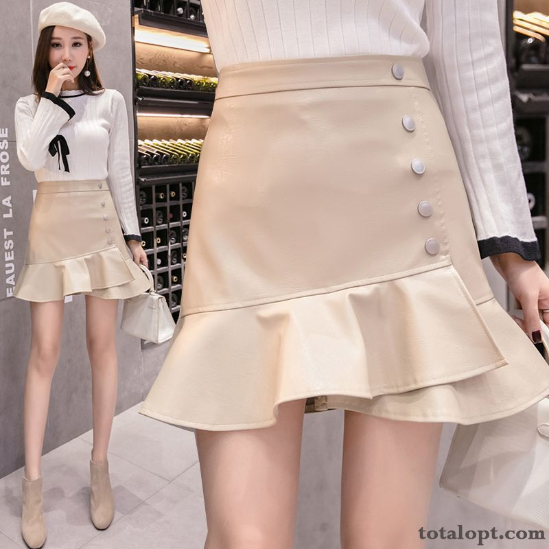 Women's Woolen White Irregular High Waist Short Skirts New Thin Leather Sort Buttons Spring All White Plum Sale