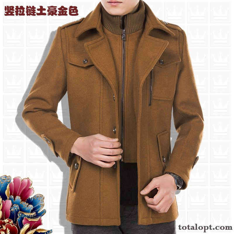 Woolen Long Section Coat Men's Jacket Winter Thickening Large Size Autumn Leisure Cotton Salmon Deep Yellow
