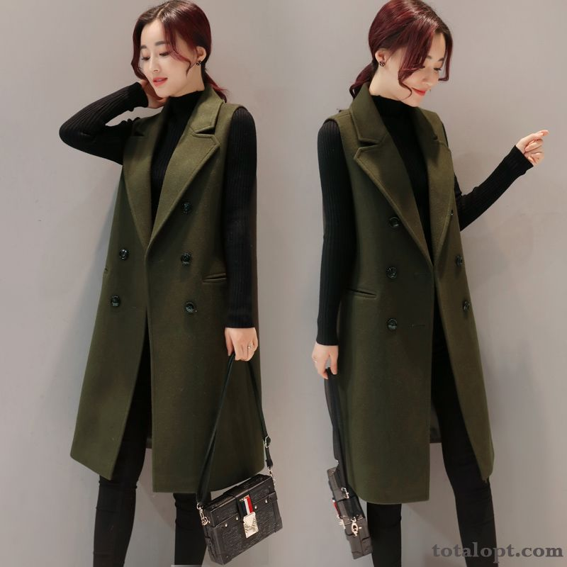 Woolen New Europe Sleeveless Thickening Military Green Women's Autumn Suit Long Section Coat Winter Modena Pearl White Online