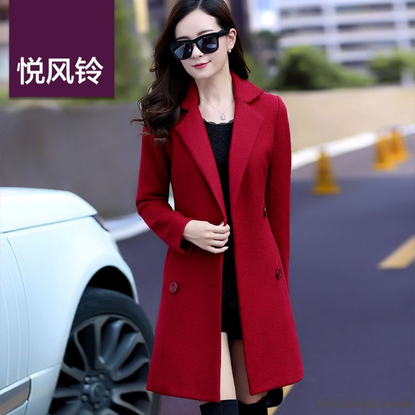 Woolen Women's Coat New Overcoat Autumn Long Section Winter Thickening Slim Europe All White Pitch-dark