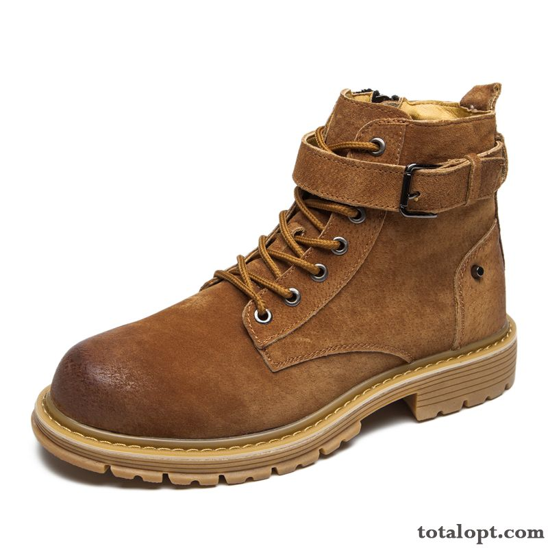 Work Shoes Martin Boots High Top Yellow Short Boots British Trend Men's Breathable Youth Genuine Leather Darkkhaki Modena