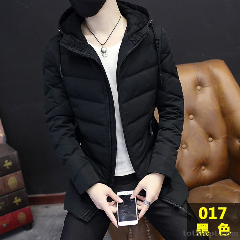 Youth Long Section Winter Clothes Men's Trend Coat Europe Slim Down Jacket New Green Green