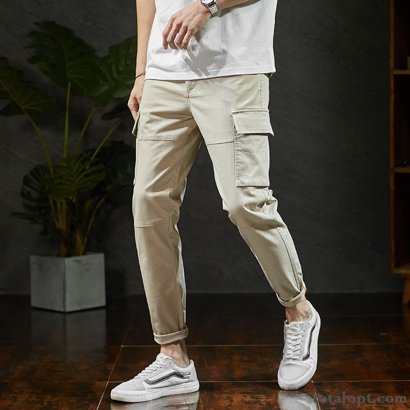 Youth Trend Fashion Men's Loose New Products Summer Pants Leisure Tooling Salmon Pink Sandy Beige Discount