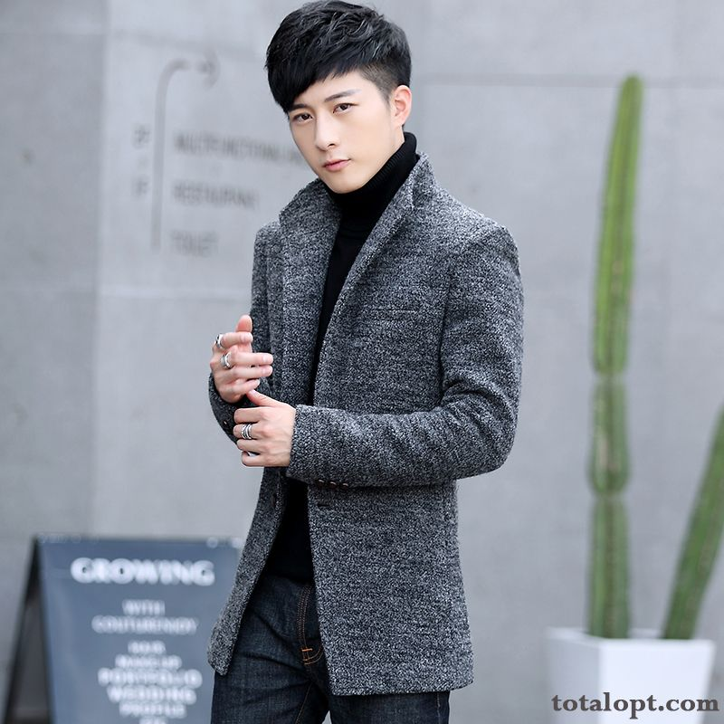 Youth Woolen Europe Long Section Men's Coat Winter Thickening Autumn Overcoat Offwhite Coffee