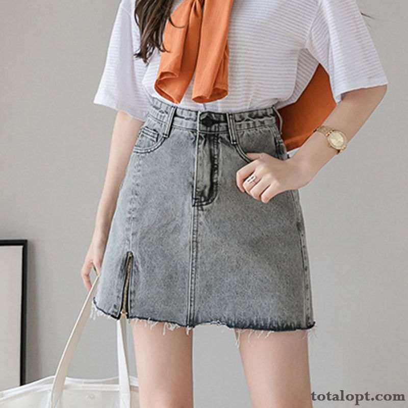 Zipper Pants Gray Summer Women's New A Letter Thin Short High Waist Spring Gray Gray Online